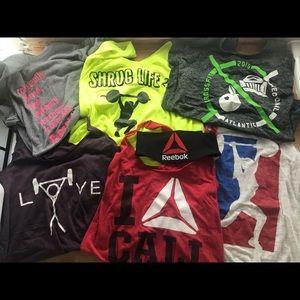 6 crossfit shirts & headband